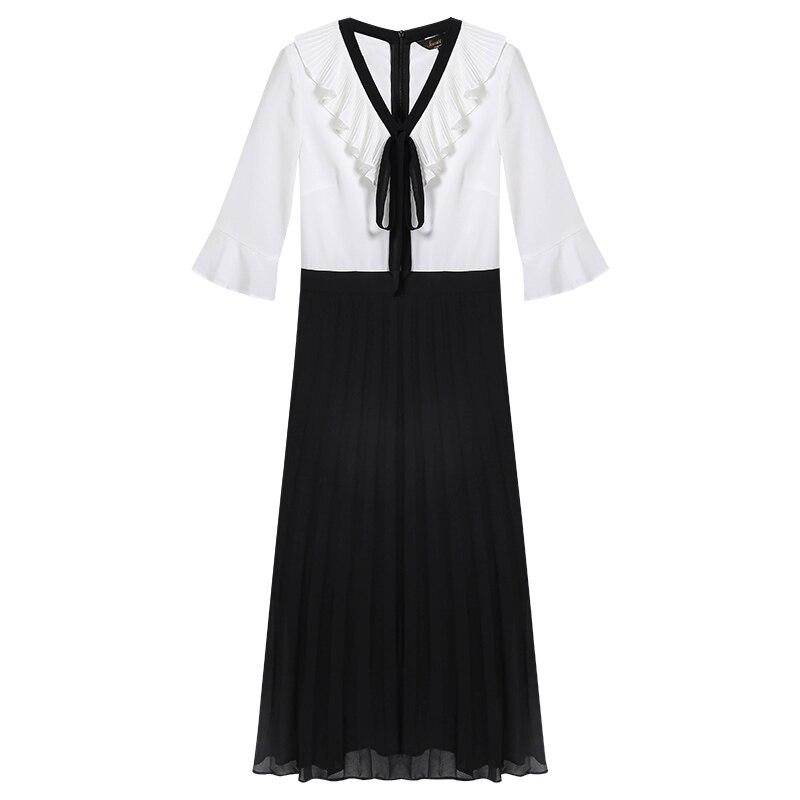 Estilo Retro Hepburn Vestido 2019 Novo Verão das Mulheres Populares Longo de Chiffon Casual Temperamento Babados Falso Two piece Vestido - 5