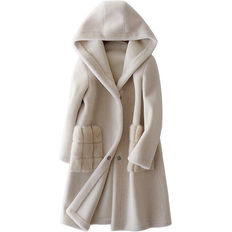 Натуральный мех пальто 2018 зимнее пальто Для женщин овечьей шерсти Меховая куртка из меха норки карман PU подкладка корейский элегантный дли...