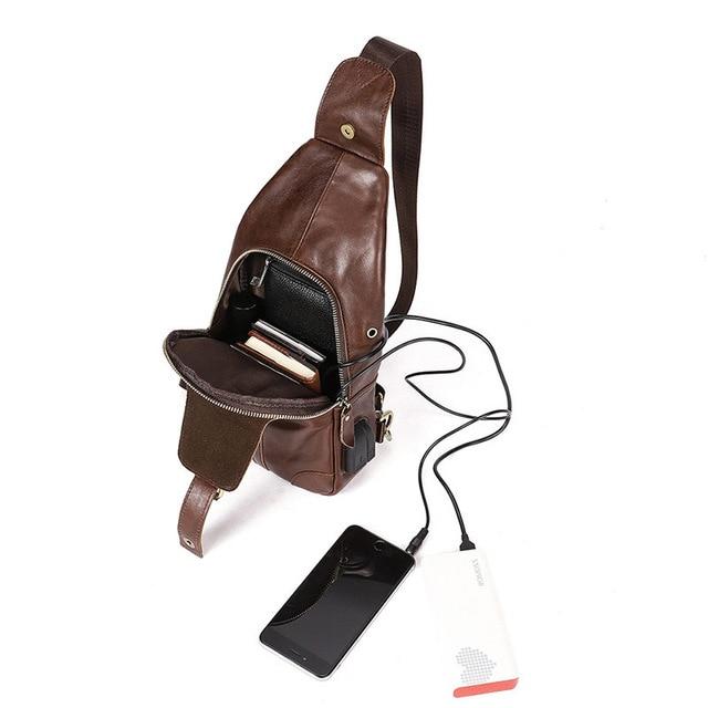 81bb3f0a56e9a satın almak Erkek askılı çanta Hakiki Deri Göğüs Çanta Erkekler için ...