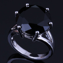 Noblest Round Black Cubic Zirconia 925 Sterling Silver Ring For Women V0478