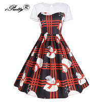 Christmas Lace Insert Short Sleeve Party Dress Women Snowflake Christmas Tree Pattern Hollow Out Big Swing