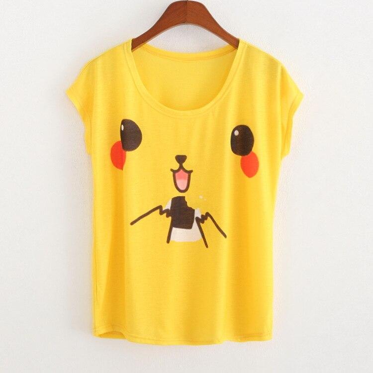 2016 Spring Summer t shirt women Pikachu printing crop top kawaii tshirt women t-shirt women tops short sleeve T shirts