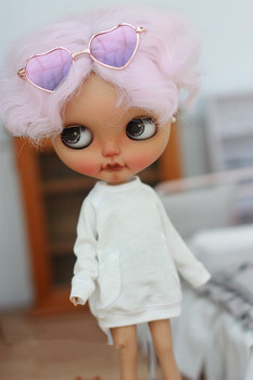 Loose T shirt with pocket available for Azone Licca Blyth Doll Clothes doll Accessories white color long T 1 pairs fashion cute white sport shoes blyth doll shoes suitable for licca azone 1 6 doll
