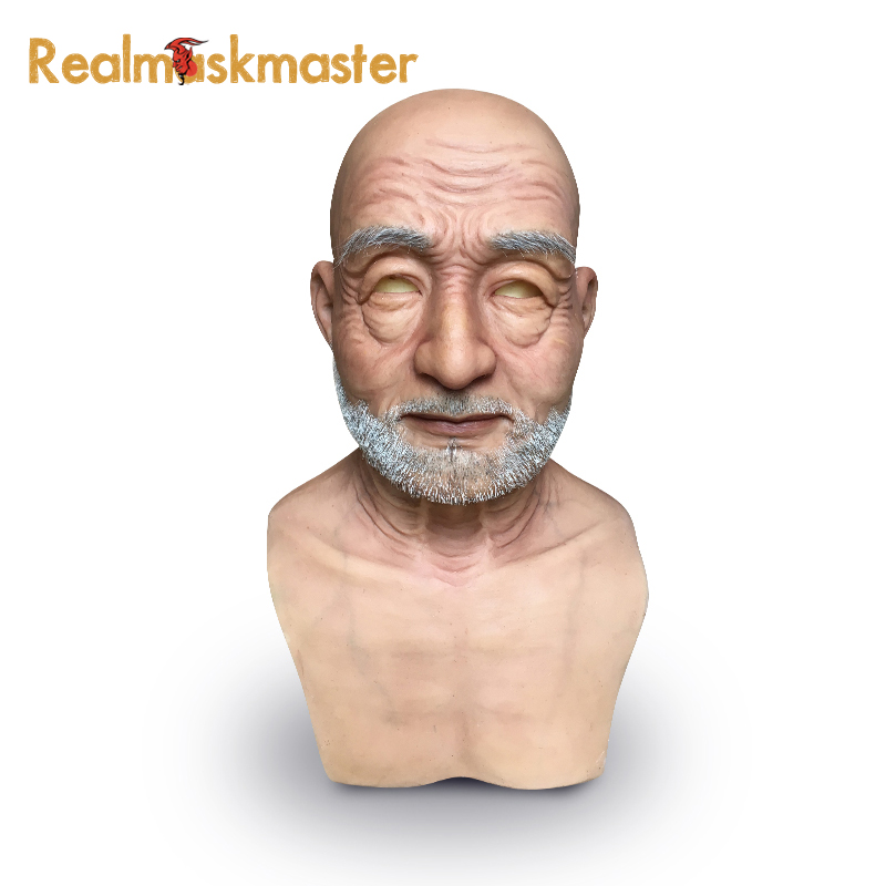 Realmaskmaster party supplies adult silicone face mask for old man fetish artificial fake halloween masks male latex realistic