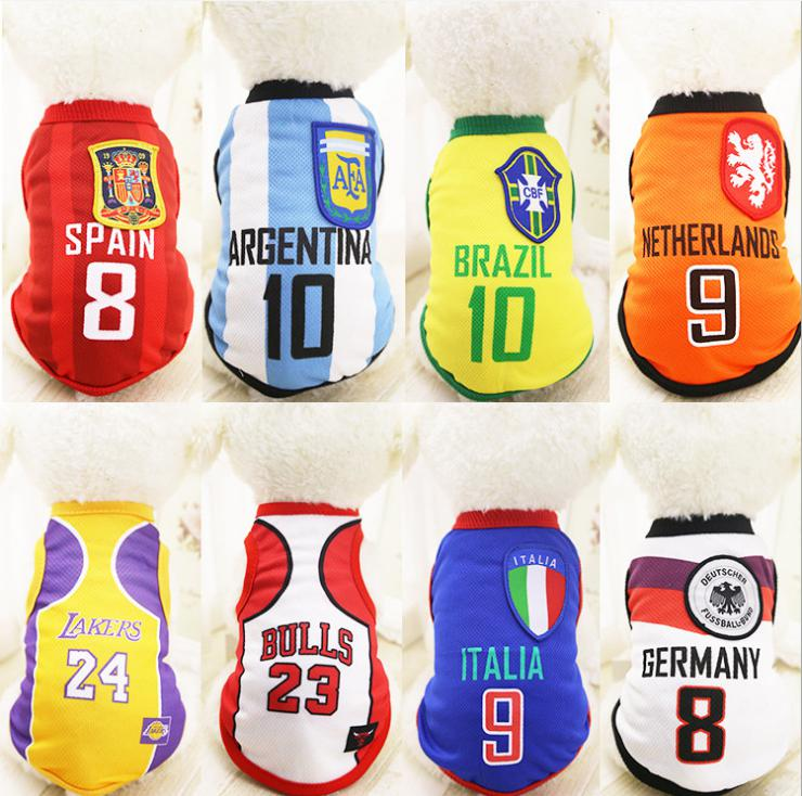 Football Pet Clothes World Cup Jersey Outdoor Sportswear Summer Breathable dog  Clothes Vest T-Shirt c5e9e916f