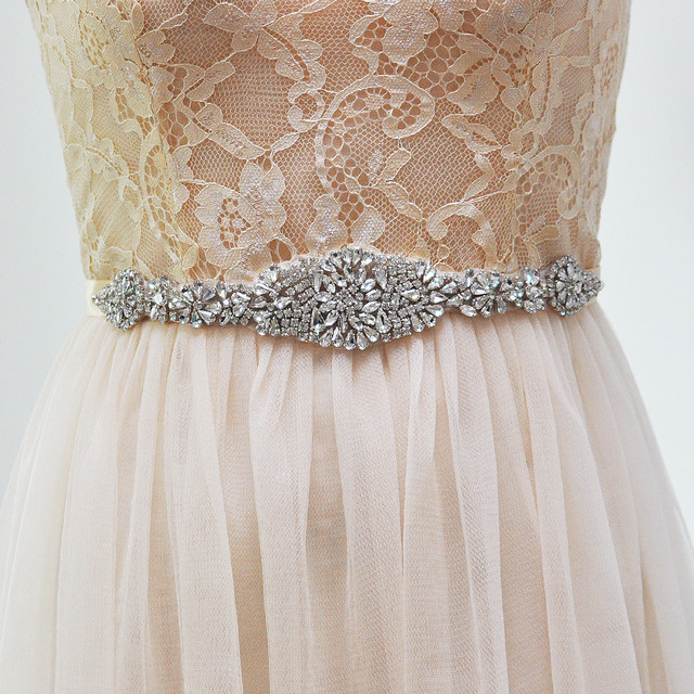 TOPQUEEN Brank S123 Remedios Vintage Rhinestone Crystal Wedding Bridal Sash Belts