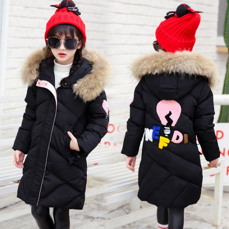 New Girls Long Padded Jacket Children Winter Coat Kids Warm Thickening Hooded Fur Collar Down Cotton Coats for Teenage Outwear 2018 new winter big girls warm thick jacket outwear clothes cotton padded kids teenage coat children faux fur hooded parkas p28