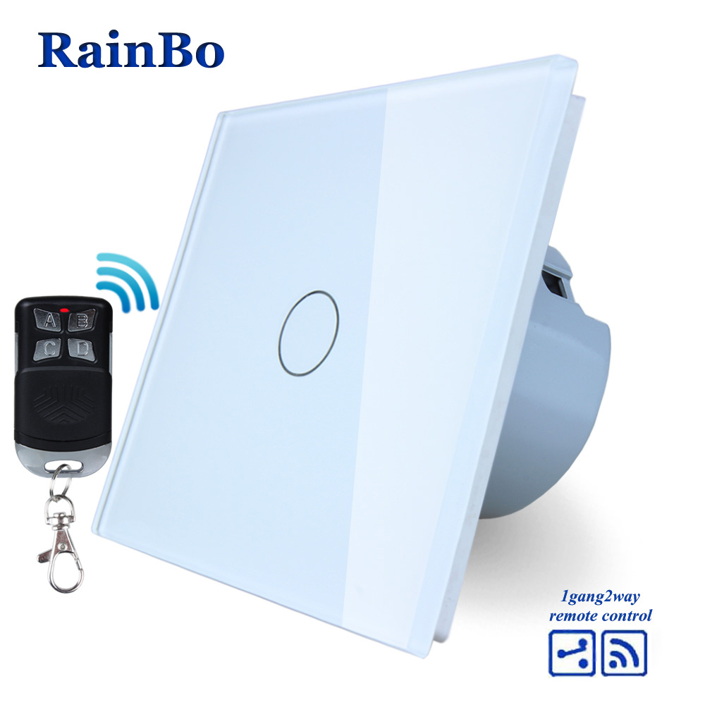RainBo Crystal Glass Panel Switch EU Wall Switch 110~250V Remote Touch Switch Screen Wall Light Switch 1gang2way  A1914CW/BR01 mvava 3 gang 1 way eu white crystal glass panel wall touch switch wireless remote touch screen light switch with led indicator