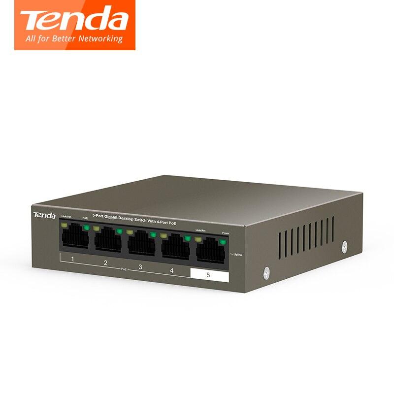 Tenda POE réseau Switchs Gigabit Commutateur 5*10/100/1000 Mbps RJ45 Port POE 10 Gbps de Commutation capacité Plug And Play TEG1105P-4-63W