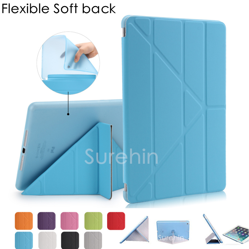 Good TPU silicone flexible soft back leather case smart cover for apple ipad air 1 2 case magnetic flip slim thin as 360 rotate case for ipad air 2 pocaton for tablet apple ipad air 2 case slim crystal clear tpu silicone protective back cover soft shell