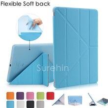 Buena silicona tpu flexible soft back case cubierta elegante de cuero para apple ipad air 1 2 case tirón magnético delgado como 360 rotar