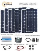 Boguang 800w Solar kit 8*100w solar panel 2000w inverter 60A controller 4 in 1 adapter MC4 connector 12v Power generation system