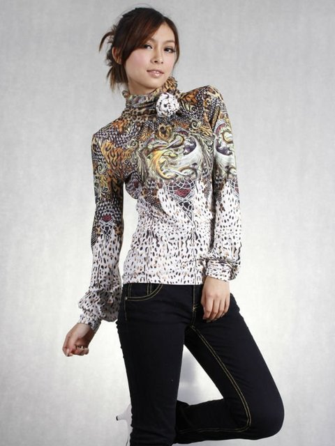 2110d12aa328c1 New arrival, High neck design lady fashion blouse with long sleeve, womens  clothing,lady top (free shipping