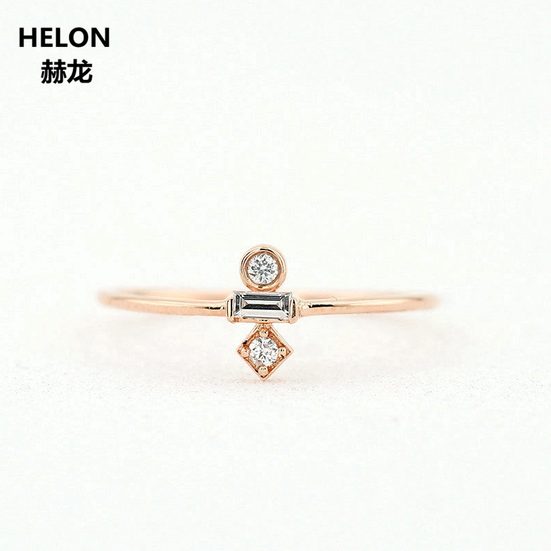 14K Solid Rose Gold Engagement Ring Wedding Anniversary Fine Jewelry for Women Trendy solid 14k rose gold 100