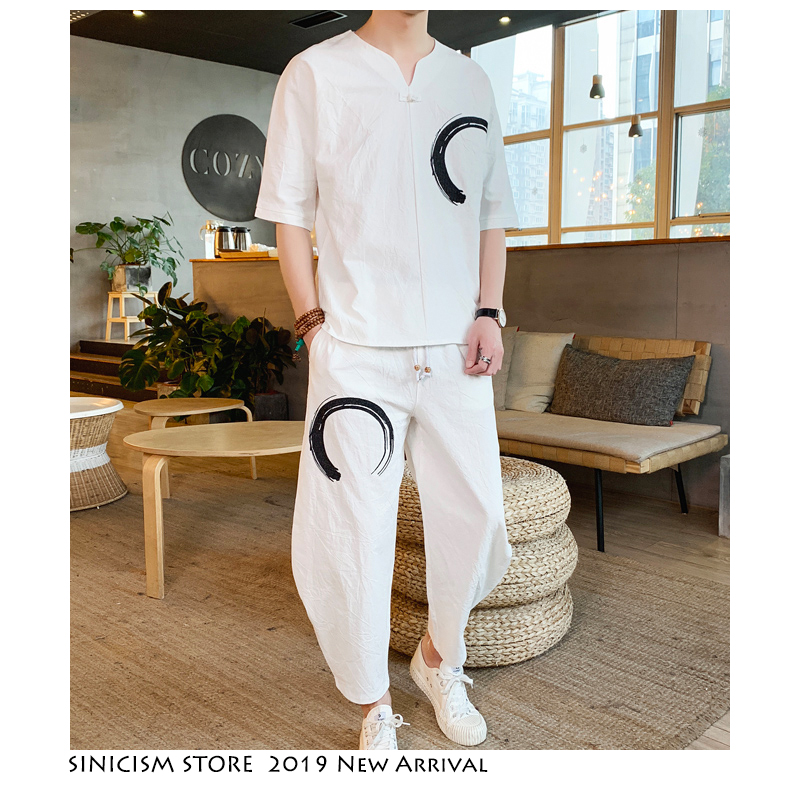 Sinicism Store Tracksuit Men Circle Streetwear 2019 Mens Summer Embroidery Linen 2 Piece Sets Male Chinese Vintage Joggers Suits