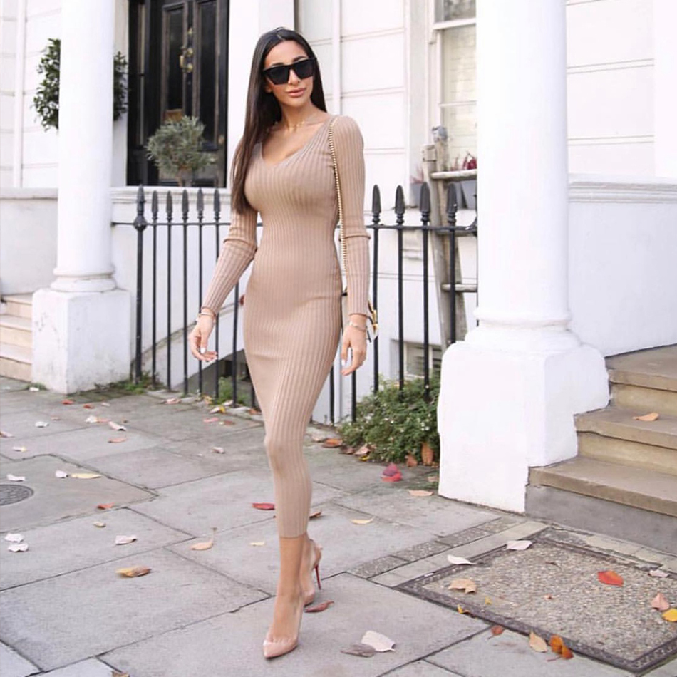 2019 Women's Bandage Dress New Sexy long sleeve Deep V Fashion Dress Bodycon Femme Vestidos Club Party