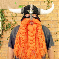 Funny Handmade Crochet Cartoon Viking Horn Hat Men Children Family Bearded Face Knitted Mask Xmas Horn
