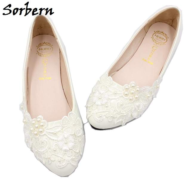 Sorbern Lace Applique Wedding Shoes Bride White Wedding Dress