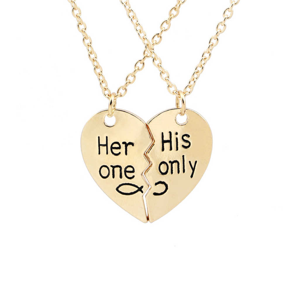 4fde4c17b1 Detail Feedback Questions about 50cm Her One His Only Heart pendant Necklace  Chain Valentine Relationship Necklace for Lovers Couple Jewelry on ...