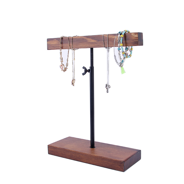 Solid Wood Metails Stick Adjust Bracelets Holder Necklace Pendant Chain Display Riser Jewelry Stand