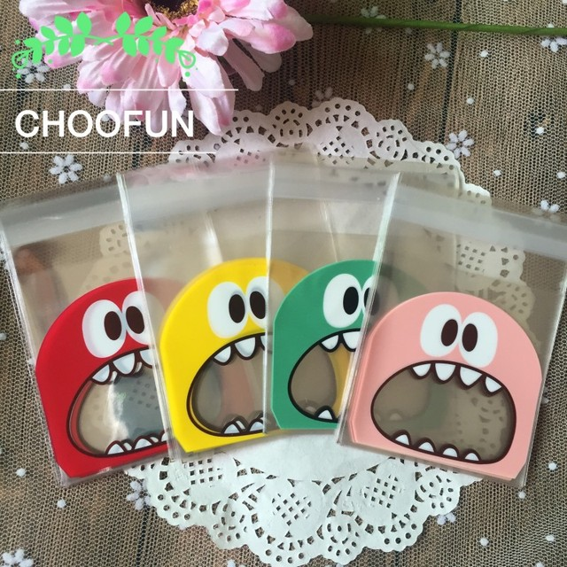 100pcs OPP Cute Monster Sharp Teeth Wedding Cookie Candy decoration Packaging Bags Self Adhesive Seal Christmas Gift Bag B136