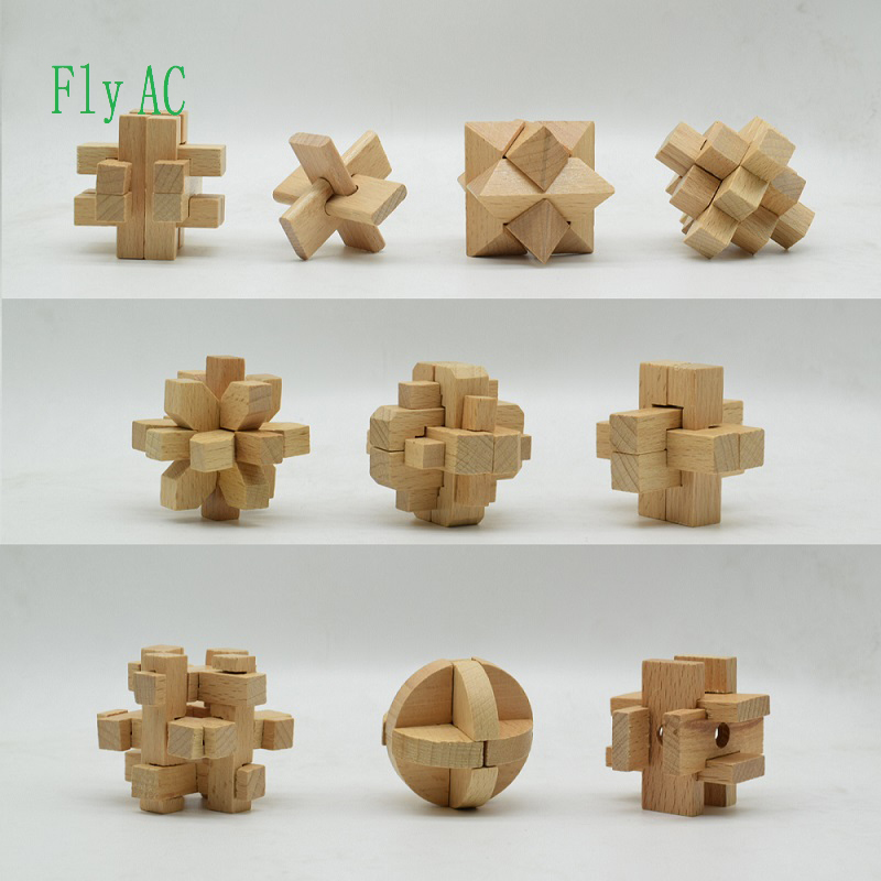 Fly AC 10 pcs/set 3D handmade vintage Ming lock Luban lock wooden toys adults puzzle for children adult Birthday gift puzzle toy wooden three open kong ming lock