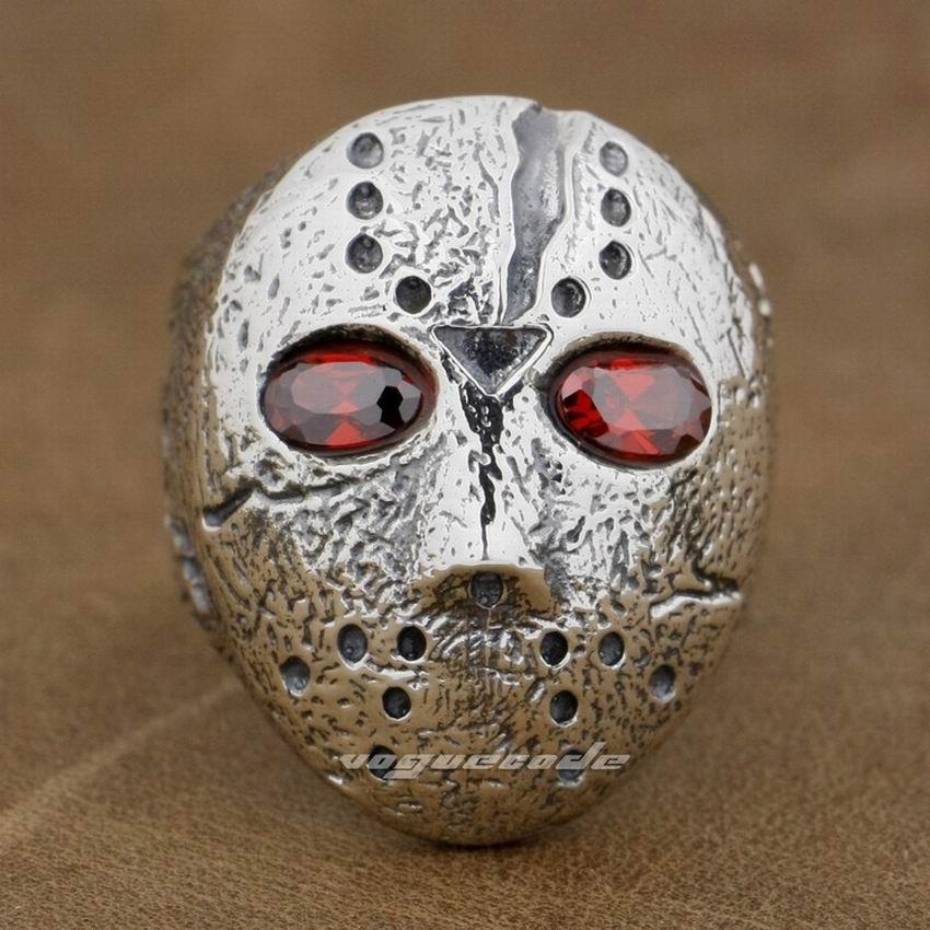925 Sterling Argent Halloween Jason Masque de Hockey Mens Biker Rocker Anneau 9D004