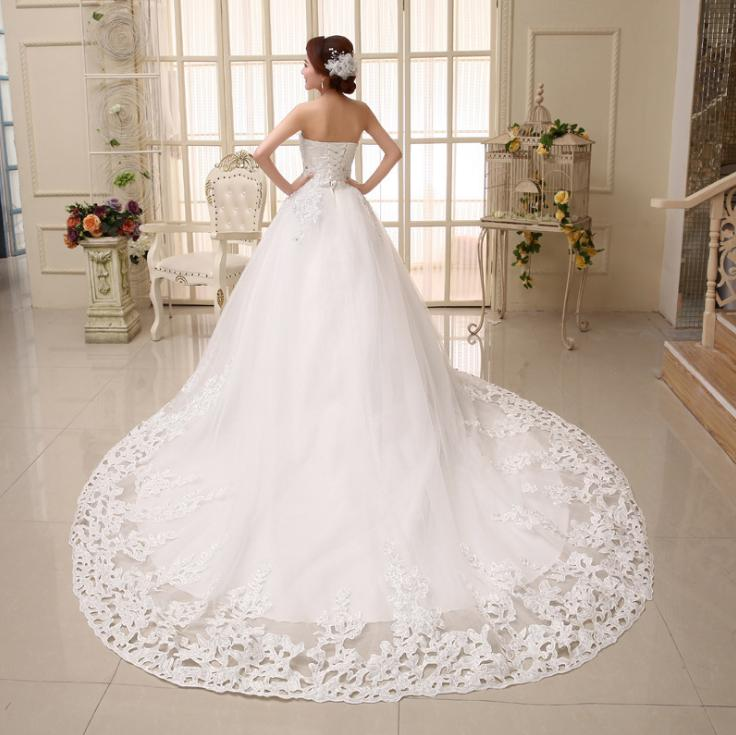 VENSANAC 2018 Crystal Strapless Sequined Appliques Ball Gown Wedding Dresses Lace Court Train Backless Bridal Gowns in Wedding Dresses from Weddings Events