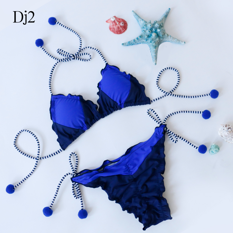Summer push up new bikini sexy Lotus leaf edge swimsuit bathing suit women high waist swiming suits Lotus Fold Edge Top swimwear