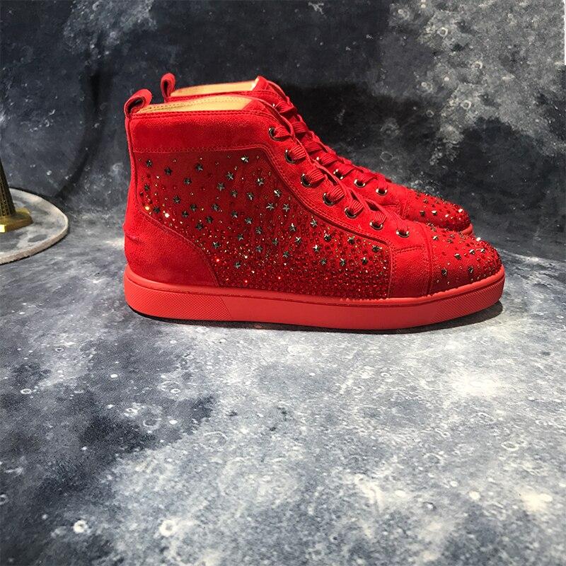 Tenis Masculin Mannen Sneakers Luxe Merk Rode Suède Verfraaid Strass Platte Schoenen Voor Mannen Hoge Top Lace Up Casual schoenen - 3