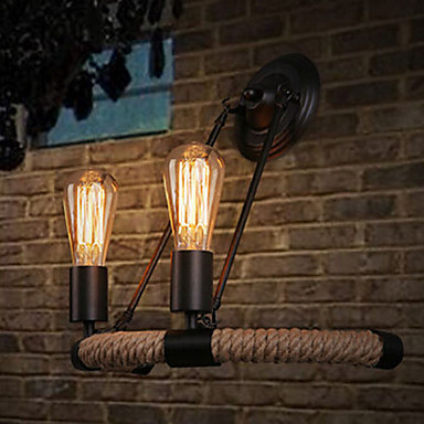 Retro American Rustic Loft Style Vintage Industrial Wall Lamp, Edison Wall Sconce With 2 Lights 40w american retro loft style edison