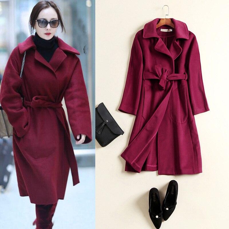 Rouge Casual Wine Mode Survêtement Red Réel Femmes Automne Occasionnel Et Cachemire De Vin Blelt Printemps Style Manteau Veste Laine Longue Avec aqHPIw