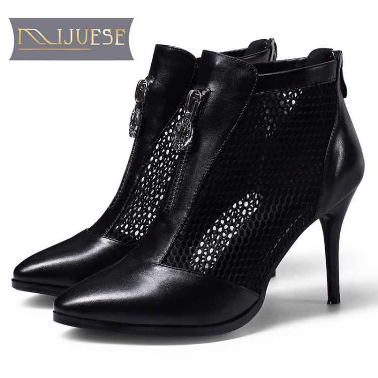 MLJUESE 2018 women boots cow leather air mesh summer zippers black color pointed toe high heels