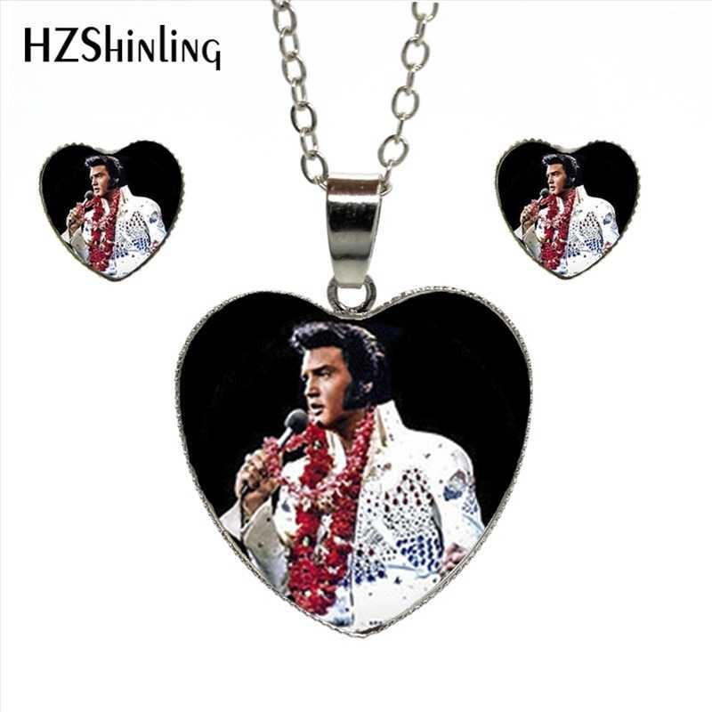 HES-026 nouveau Elvis Presley coeur parure de bijoux Elvis Presley bijoux Rock Star Murano verre coeur boucles d'oreilles pendentif collier