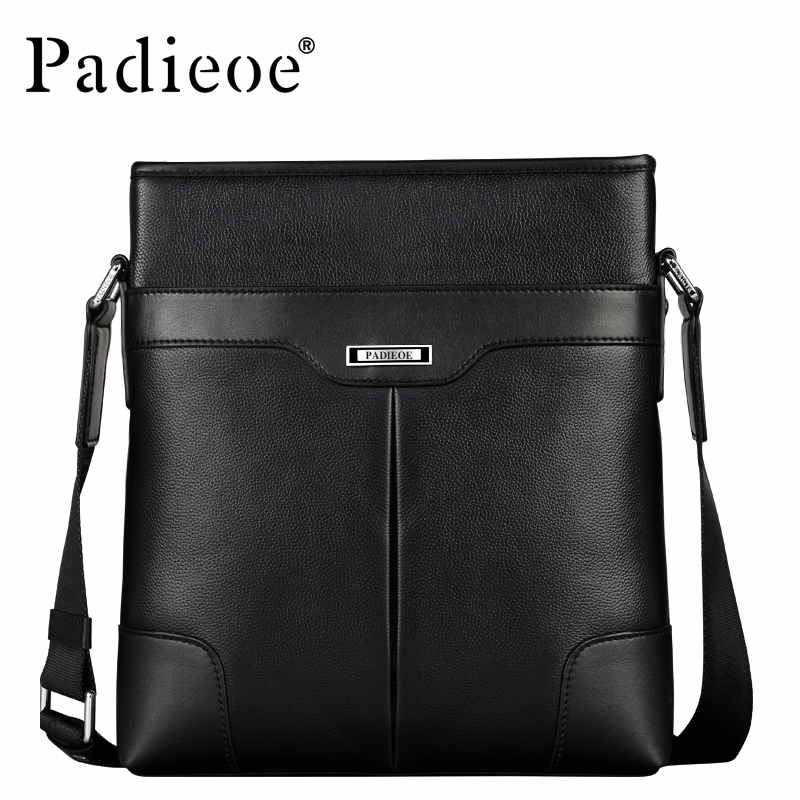 Padieoe 2018 Fashion Men Shoulder Bags Cowhide Brand Messenger Bag Men's Business Casual Handbags Genuine Leather Crossbody Bag padieoe men s genuine leather briefcase famous brand business cowhide leather men messenger bag casual handbags shoulder bags