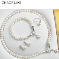 ZHBORUINI Pearl Jewelry Sets Natural Freshwater 925 Sterling Silver Jewelry Bow Pearl Necklace Earrings Bracelet For