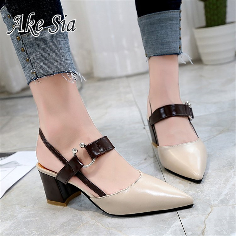 HTB1oy8jborrK1RkSne1q6ArVVXan 2019 Sandalias femeninas high heels Autumn Flock pointed sandals sexy high heels female summer shoes Female sandals mujer s040
