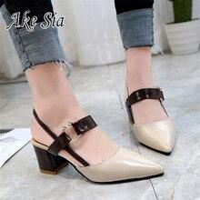 6a144726 Nuevo PRIMAVERA/otoño Sexy tacones altos hueco grueso Sandalias de tacón  alto de la boca baja de punta de las mujeres zapatos de.