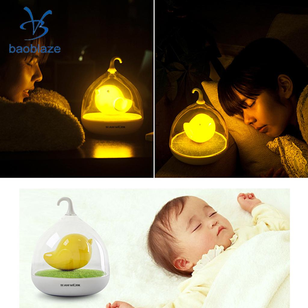 Portable LED Bird in Cage Lamp Touch Dimmable Rechargeable Bedroom Night Light