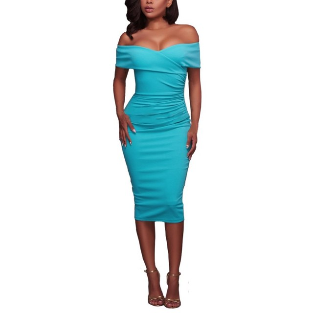 Women Sexy Off Shoulder Strapless Midi Dress Ruched Elegant Dress Party Clubwear Pencil Dress by Liva Girl