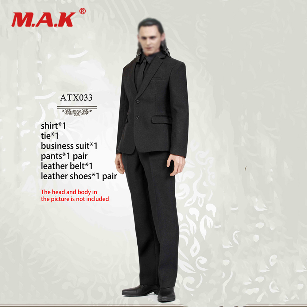 """1/6 Scale Model Loki Black business suit set Clothing Suits with shoes pants For 12"""" Action Figure Male Body Model Toys ACC"""
