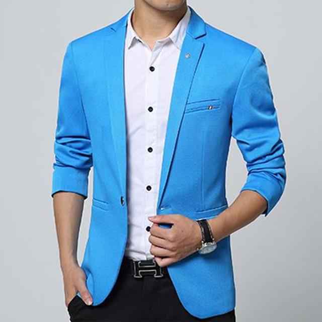 2016 Moda de nueva Mens algodón de la manera de Corea slim fit blazer Suit Jacket negro azul blazers Masculinos Mens capa de vestido de Novia