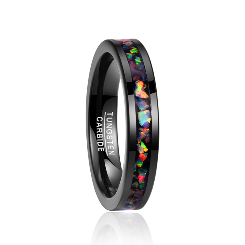 цены 2018 free shipping Personality men' s rings inlaid opal black tungsten steel ring size 7-12 vintage Jewelry Gift never fade