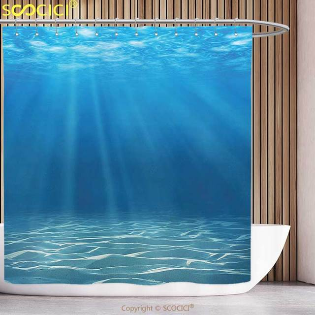 Polyester Shower Curtain Ocean Decor Sunlight Bursting Into Deep Under Sea Wilderness Scenery Waterscape Picture Print