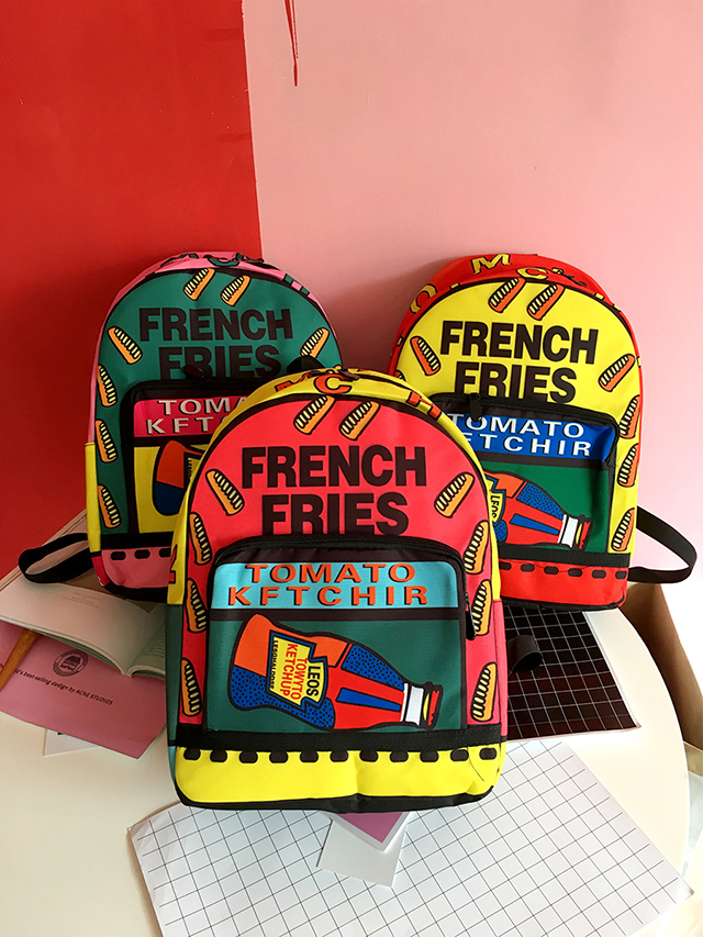 Creative Girls' Graffiti Printing Canvas Backpack Individuality College Style Student Schoolbag