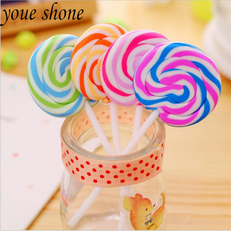 Hot Sale Kawaii Cartoon Lollipop Rubber Ribbing Erasers For Kids Lovely Creative Stationery Gift