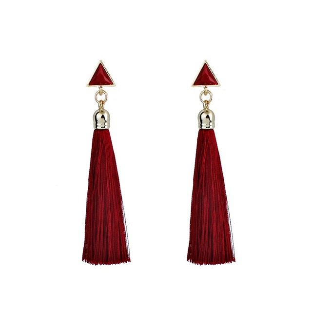 2018 Resin Stone Drop Earrings Gold Color Bohemian Vintage Black Blue Red Ethnic Long Fringe Tassel Earrings for Women Jewelry 5