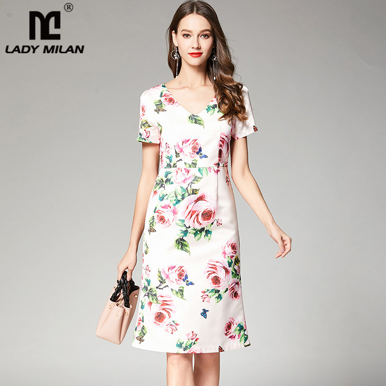 New Arrival 2018 Womens Sexy V Neck Short Sleeves Floral Printed High Street Fashion Casual Dresses