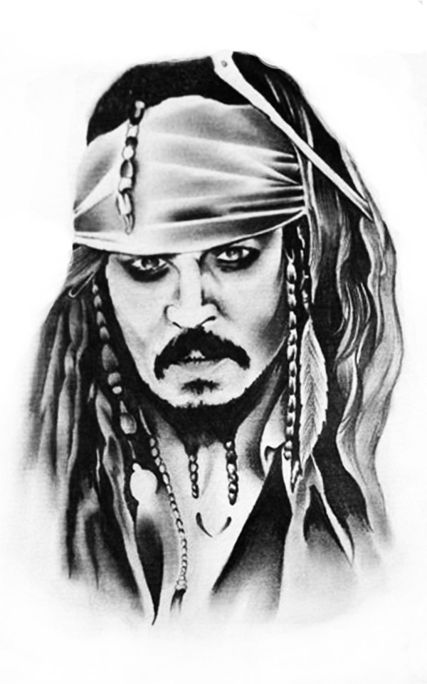 Waterproof temporary tattoo sticker pirates of the for Captain jack sparrow tattoo