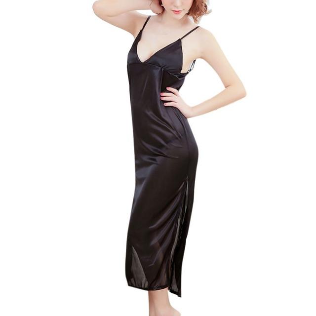 Pyjamas Women Satin Sleepwear Babydoll Lingerie Long Nightdress Underwear sexy lingerie hot Thongs night dress sexy %8